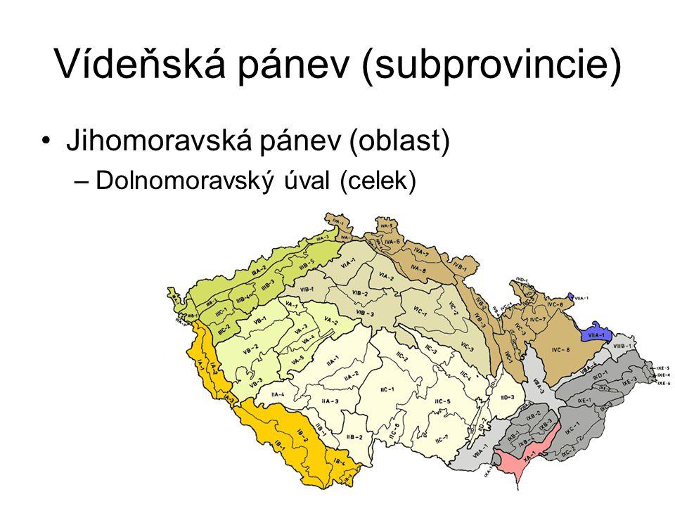 Vídeňská pánev (subprovincie) Jihomoravská pánev (oblast) –Dolnomoravský úval (celek)