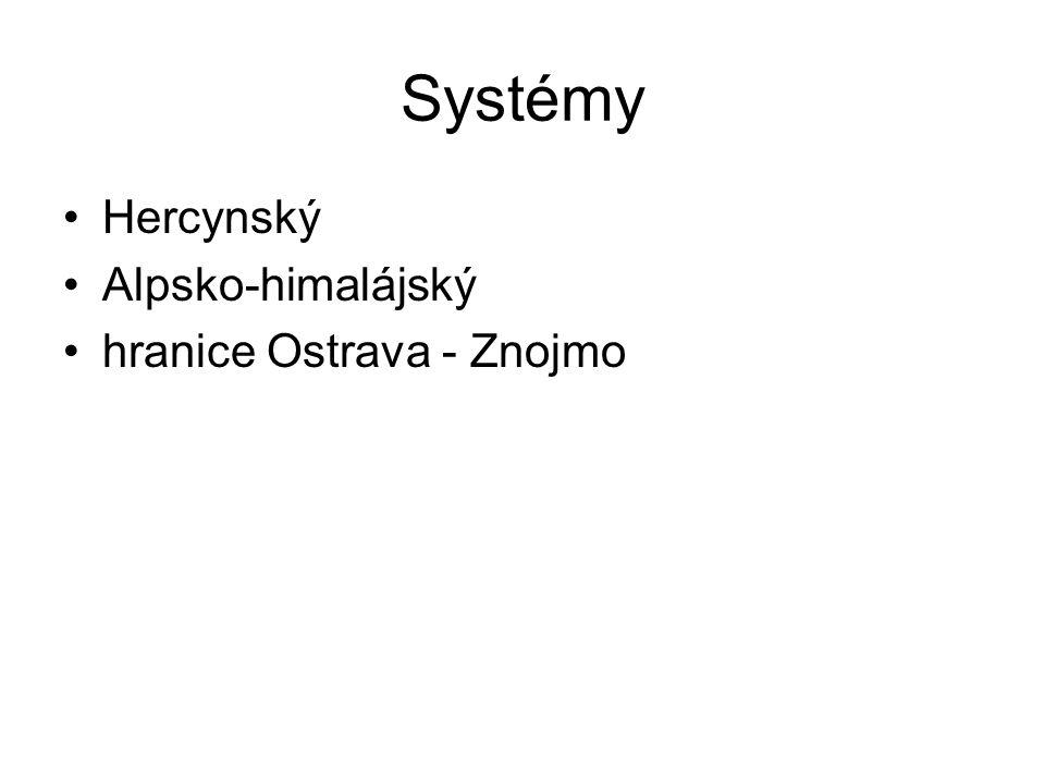 Systémy Hercynský Alpsko-himalájský hranice Ostrava - Znojmo