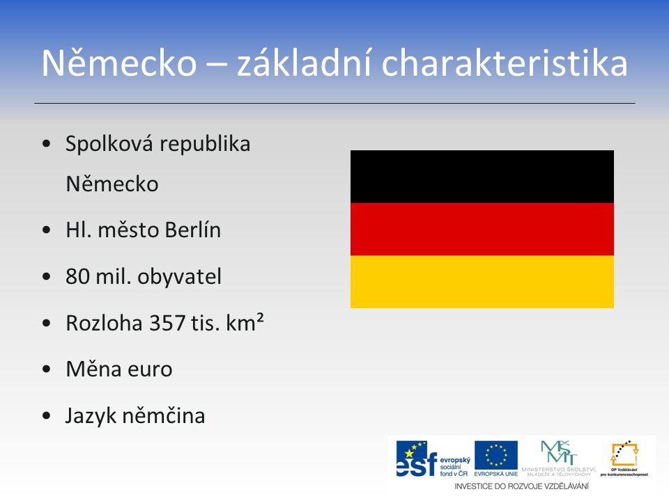 Německo – základní charakteristika Spolková republika Německo Hl. město Berlín 80 mil. obyvatel Rozloha 357 tis. km² Měna euro Jazyk němčina