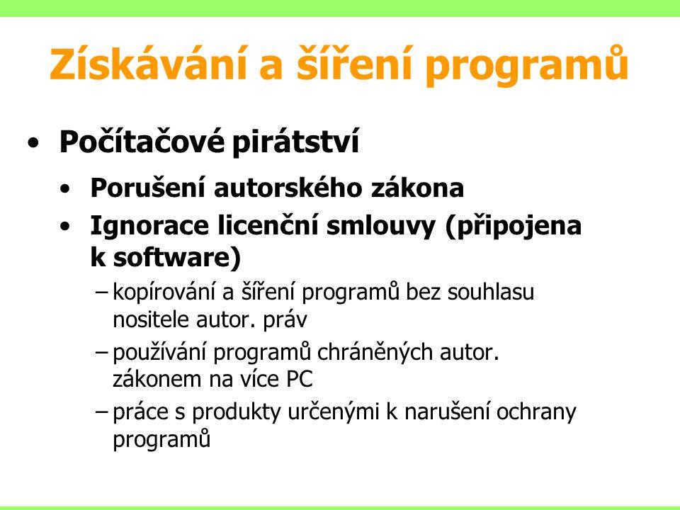Počítačové pirátství Porušení autorského zákona Ignorace licenční smlouvy (připojena k software) –kopírování a šíření programů bez souhlasu nositele a