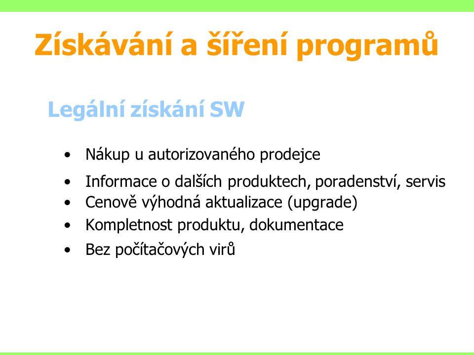 Legální získání SW Nákup u autorizovaného prodejce Informace o dalších produktech, poradenství, servis Cenově výhodná aktualizace (upgrade) Kompletnos