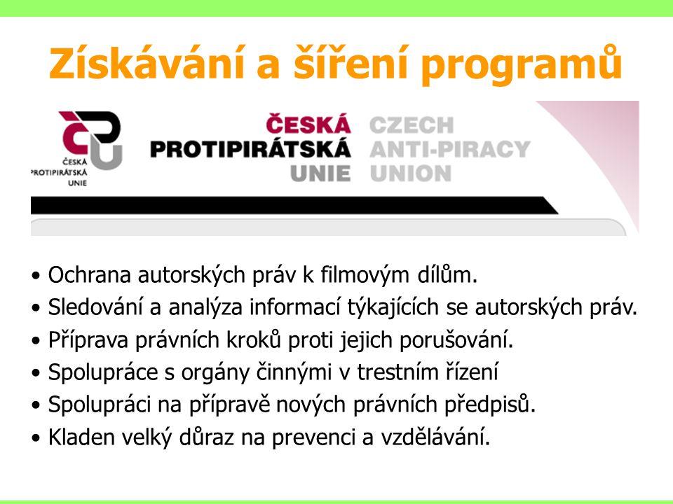 Ochrana autorských práv k filmovým dílům. Sledování a analýza informací týkajících se autorských práv. Příprava právních kroků proti jejich porušování