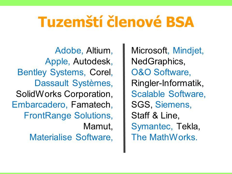 Tuzemští členové BSA Adobe, Altium, Apple, Autodesk, Bentley Systems, Corel, Dassault Systèmes, SolidWorks Corporation, Embarcadero, Famatech, FrontRa