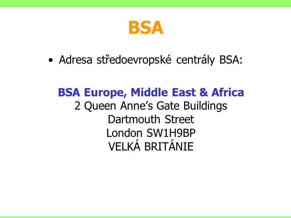 Adresa středoevropské centrály BSA: BSA Europe, Middle East & Africa 2 Queen Anne's Gate Buildings Dartmouth Street London SW1H9BP VELKÁ BRITÁNIE BSA