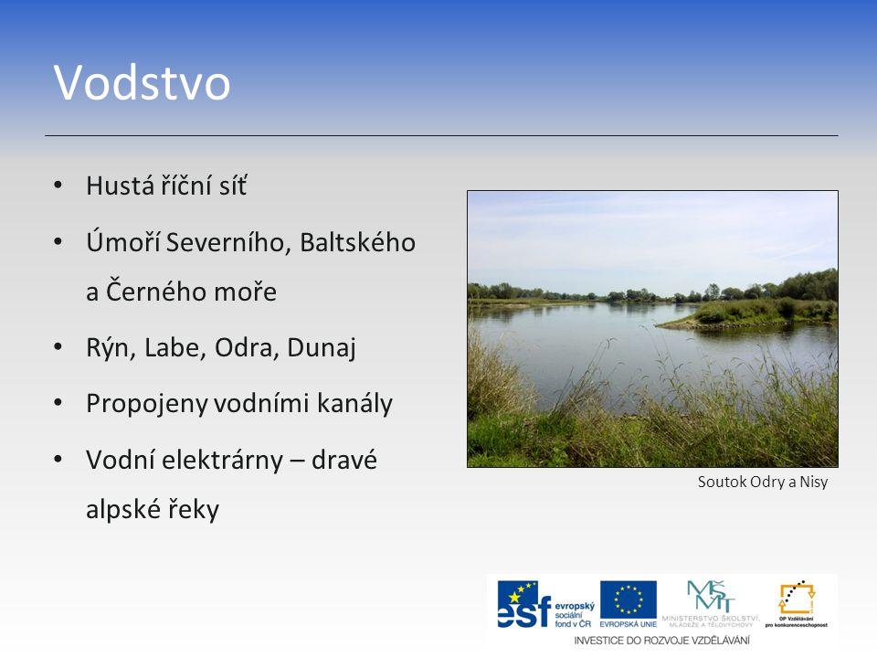 Vodstvo Hustá říční síť Úmoří Severního, Baltského a Černého moře Rýn, Labe, Odra, Dunaj Propojeny vodními kanály Vodní elektrárny – dravé alpské řeky