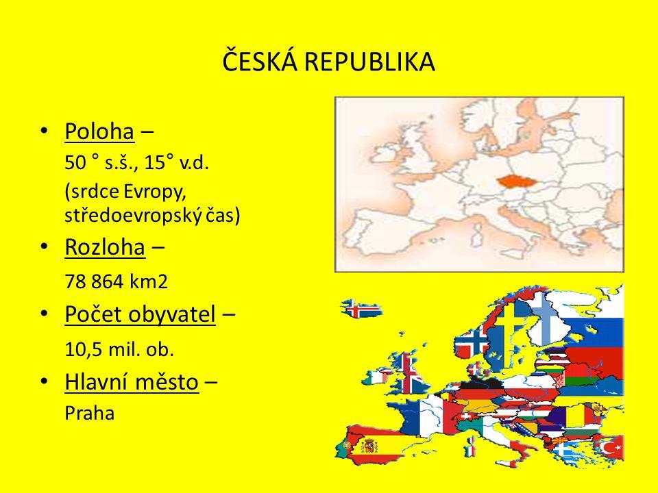 Poloha – 50 ° s.š., 15° v.d. (srdce Evropy, středoevropský čas) Rozloha – 78 864 km2 Počet obyvatel – 10,5 mil. ob. Hlavní město – Praha