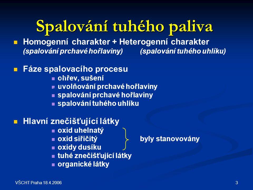 VŠCHT Praha 18.4.2006 3 Spalování tuhého paliva Homogenní charakter + Heterogenní charakter (spalování prchavé hořlaviny)(spalování tuhého uhlíku) Fáz