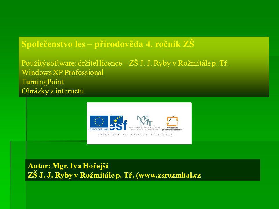 Společenstvo les – přírodověda 4. ročník ZŠ Použitý software: držitel licence – ZŠ J. J. Ryby v Rožmitále p. Tř. Windows XP Professional TurningPoint