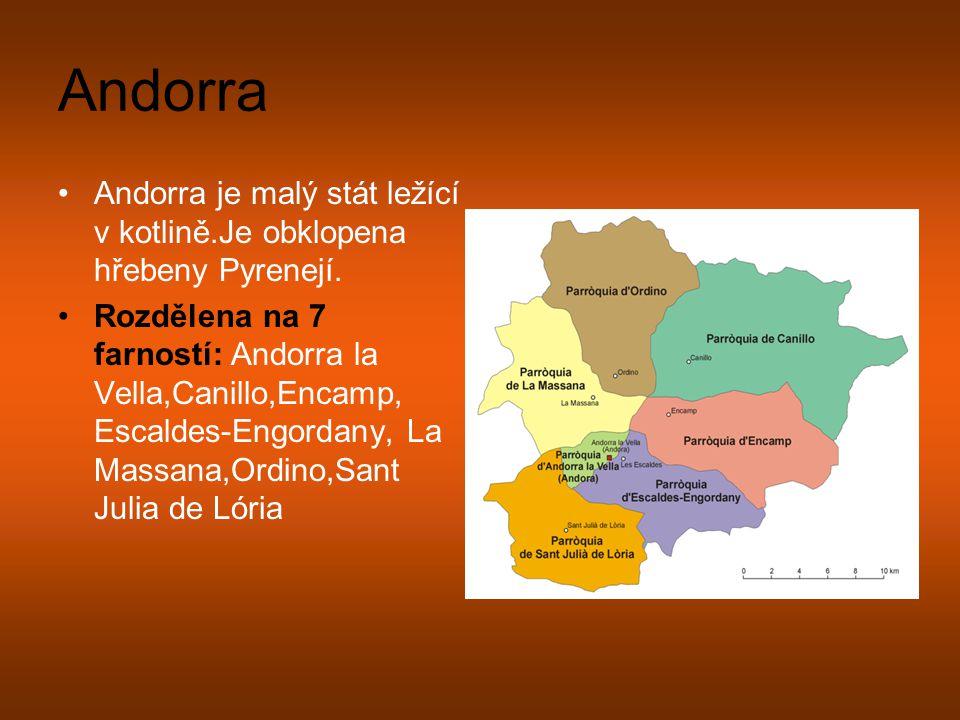 Andorra Andorra je malý stát ležící v kotlině.Je obklopena hřebeny Pyrenejí. Rozdělena na 7 farností: Andorra la Vella,Canillo,Encamp, Escaldes-Engord