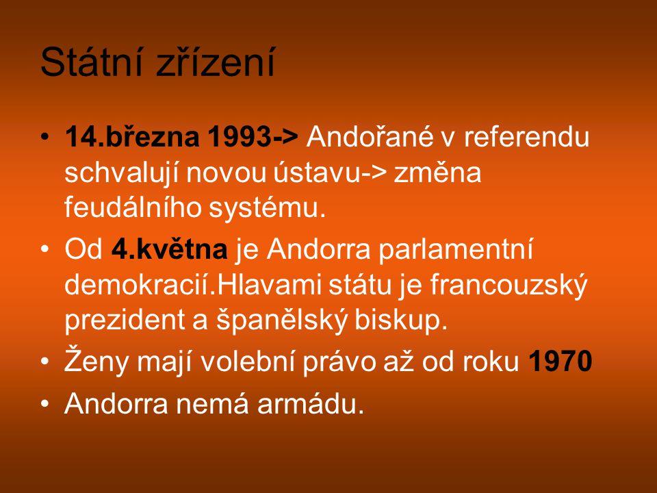 Státní zřízení 14.března 1993-> Andořané v referendu schvalují novou ústavu-> změna feudálního systému. Od 4.května je Andorra parlamentní demokracií.