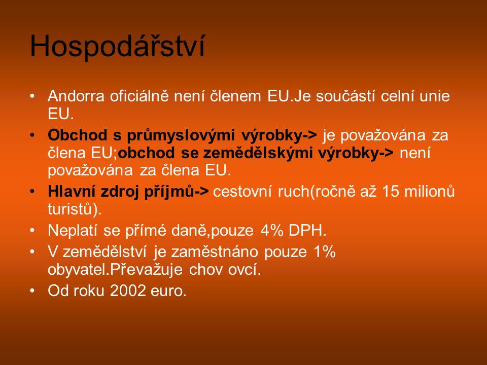 Hospodářství Andorra oficiálně není členem EU.Je součástí celní unie EU. Obchod s průmyslovými výrobky-> je považována za člena EU;obchod se zemědělsk