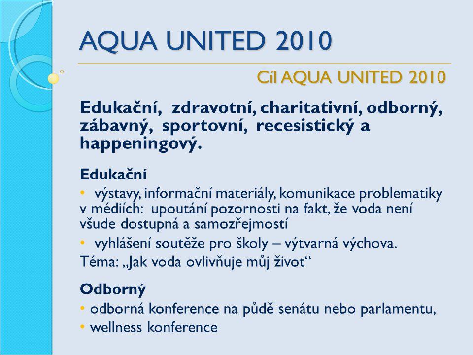 AQUA UNITED 2010 Edukační, zdravotní, charitativní, odborný, zábavný, sportovní, recesistický a happeningový. Edukační výstavy, informační materiály,