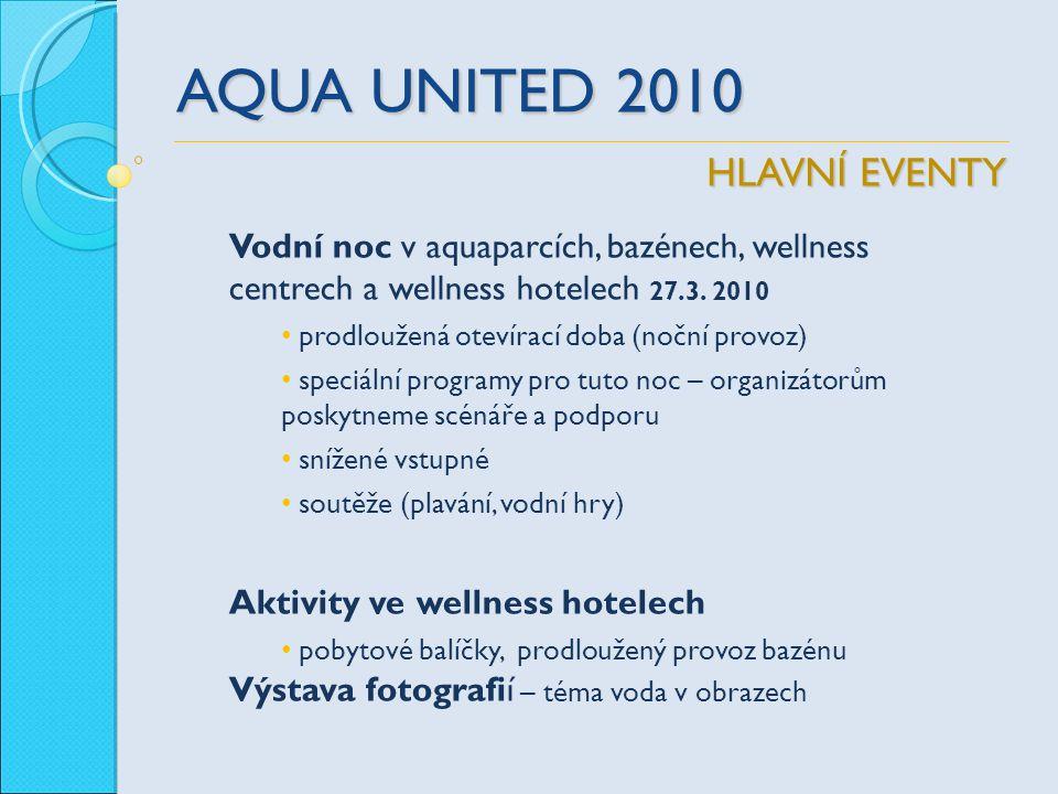 AQUA UNITED 2010 Vodní noc v aquaparcích, bazénech, wellness centrech a wellness hotelech 27.3. 2010 prodloužená otevírací doba (noční provoz) speciál