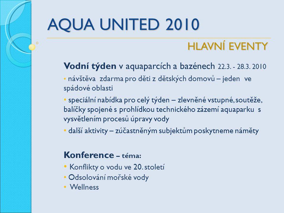 AQUA UNITED 2010 Vodní týden v aquaparcích a bazénech 22.3. - 28.3. 2010 návštěva zdarma pro děti z dětských domovů – jeden ve spádové oblasti speciál
