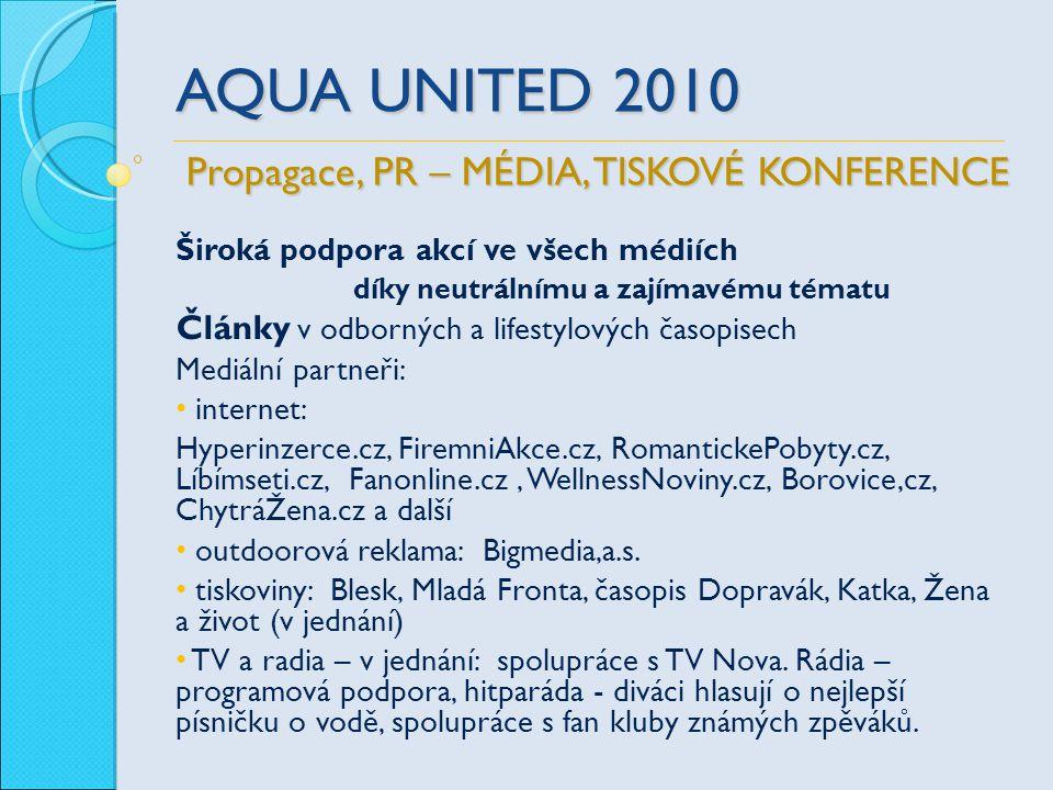 AQUA UNITED 2010 Široká podpora akcí ve všech médiích díky neutrálnímu a zajímavému tématu Články v odborných a lifestylových časopisech Mediální part