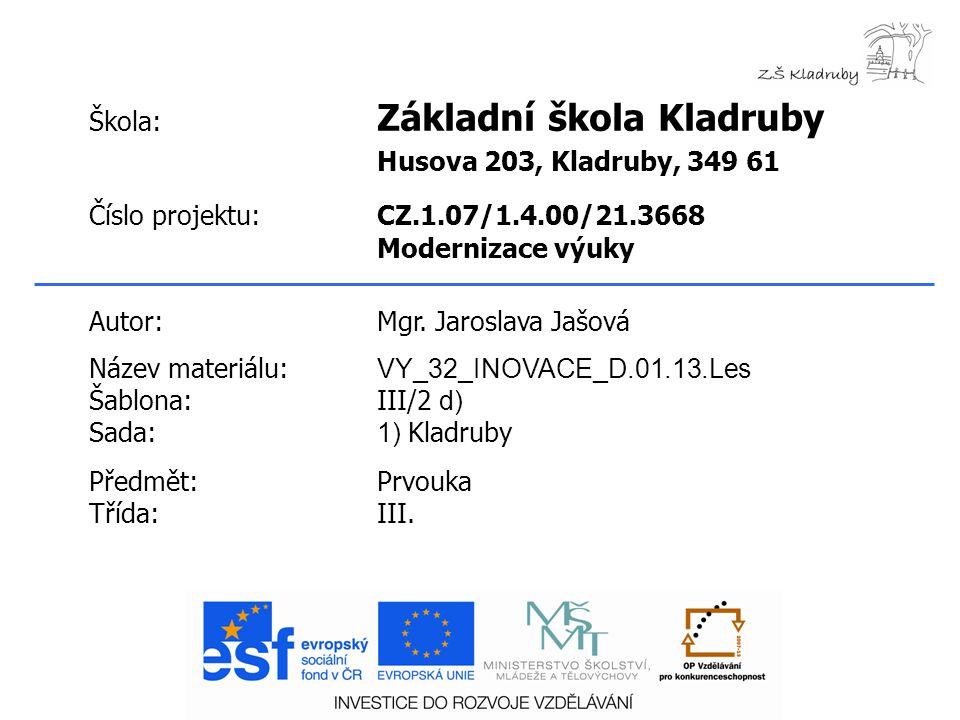 Klíčová slova:  Smrkový les  Borový les  Lužní les  Smíšený listnatý les Anotace: Prezentace seznamuje s typy lesa v okolí Kladrub.