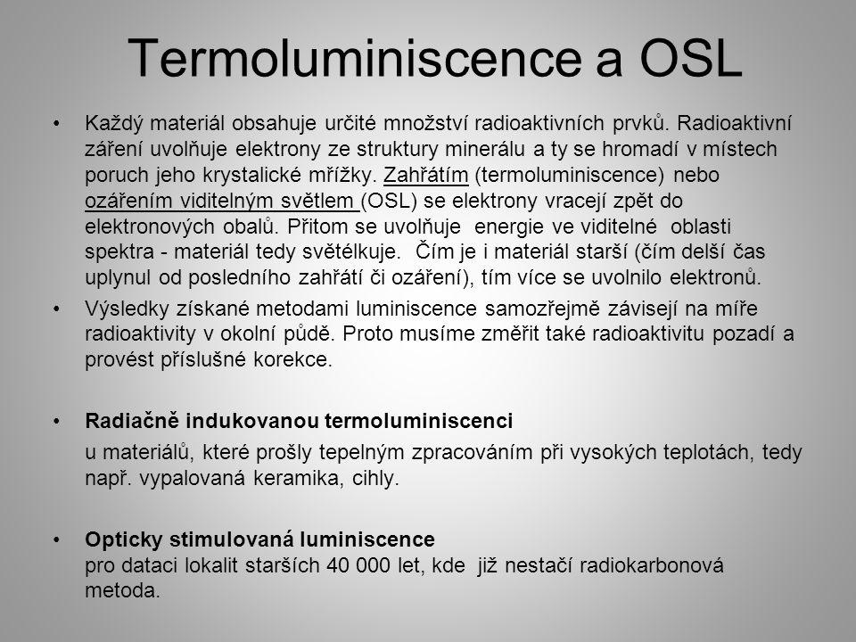 Termoluminiscence a OSL Každý materiál obsahuje určité množství radioaktivních prvků. Radioaktivní záření uvolňuje elektrony ze struktury minerálu a t