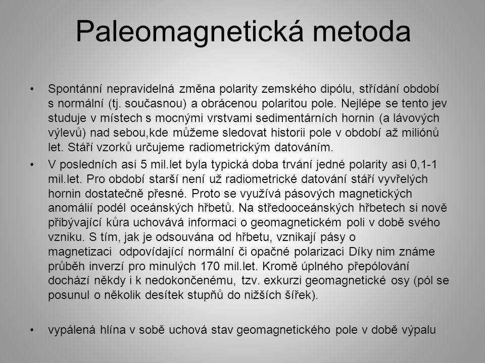 Paleomagnetická metoda Spontánní nepravidelná změna polarity zemského dipólu, střídání období s normální (tj. současnou) a obrácenou polaritou pole. N
