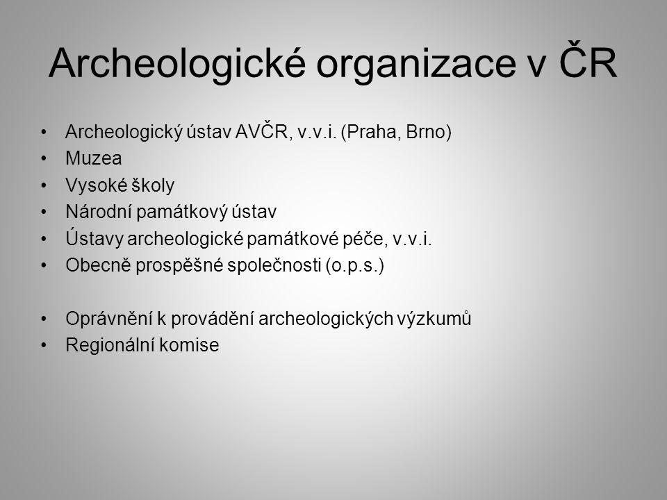 Archeologické organizace v ČR Archeologický ústav AVČR, v.v.i.