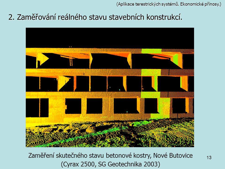 13 (Aplikace terestrických systémů. Ekonomické přínosy.) 2. Zaměřování reálného stavu stavebních konstrukcí. Zaměření skutečného stavu betonové kostry
