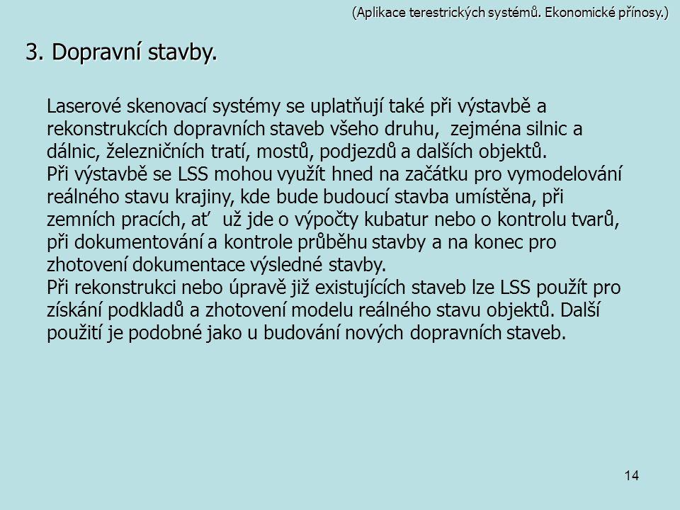 14 (Aplikace terestrických systémů. Ekonomické přínosy.) 3. Dopravní stavby. Laserové skenovací systémy se uplatňují také při výstavbě a rekonstrukcíc