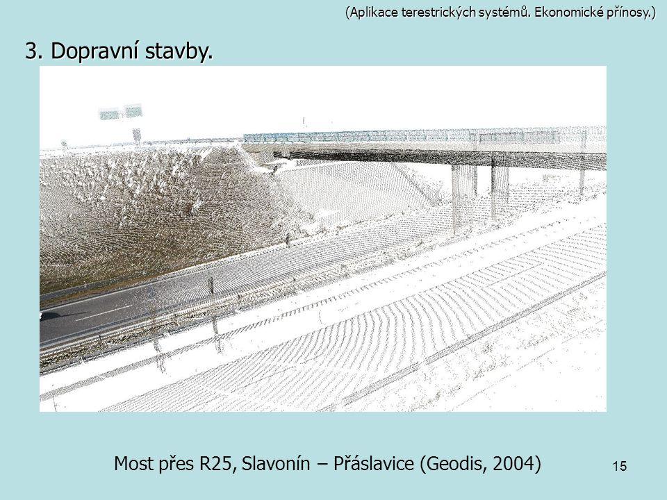15 (Aplikace terestrických systémů. Ekonomické přínosy.) Most přes R25, Slavonín – Přáslavice (Geodis, 2004) 3. Dopravní stavby.
