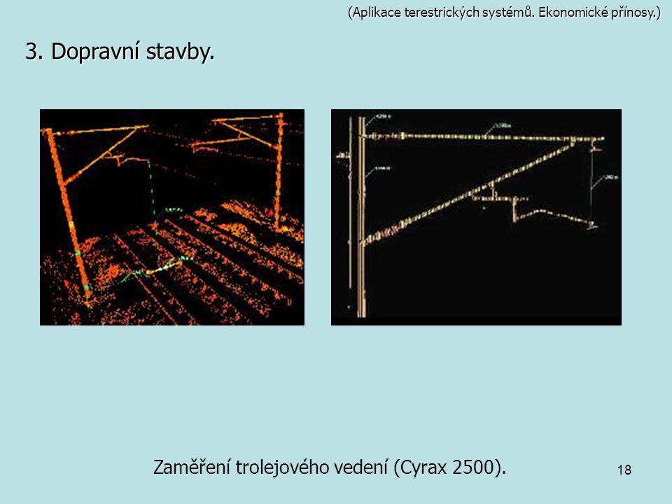 18 (Aplikace terestrických systémů. Ekonomické přínosy.) Zaměření trolejového vedení (Cyrax 2500). 3. Dopravní stavby.