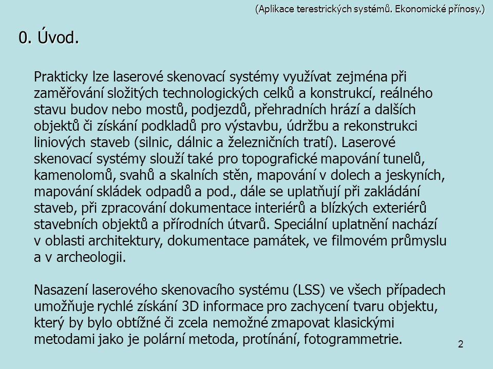 2 (Aplikace terestrických systémů. Ekonomické přínosy.) 0. Úvod. Prakticky lze laserové skenovací systémy využívat zejména při zaměřování složitých te