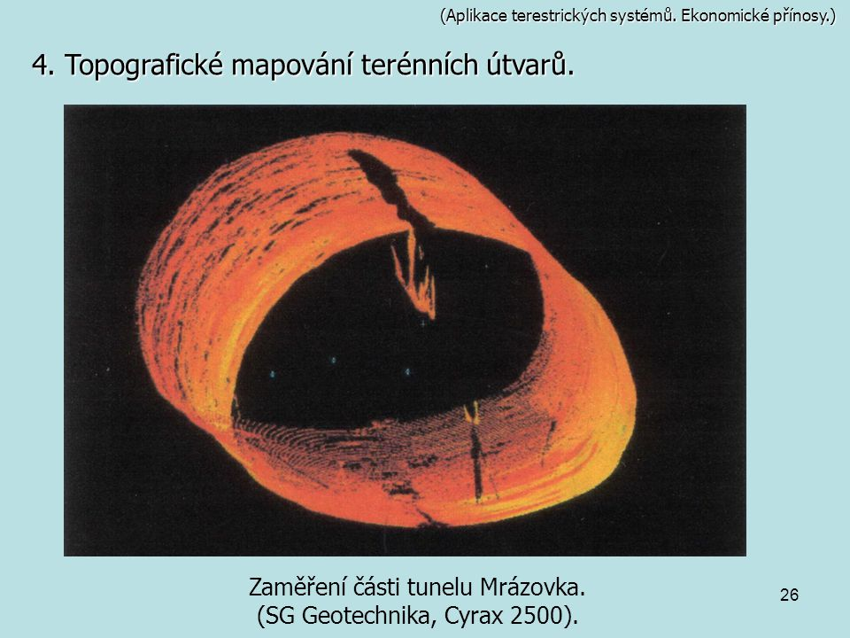 26 (Aplikace terestrických systémů. Ekonomické přínosy.) Zaměření části tunelu Mrázovka. (SG Geotechnika, Cyrax 2500). 4. Topografické mapování terénn