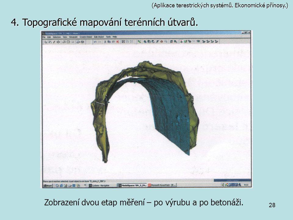 28 (Aplikace terestrických systémů. Ekonomické přínosy.) Zobrazení dvou etap měření – po výrubu a po betonáži. 4. Topografické mapování terénních útva