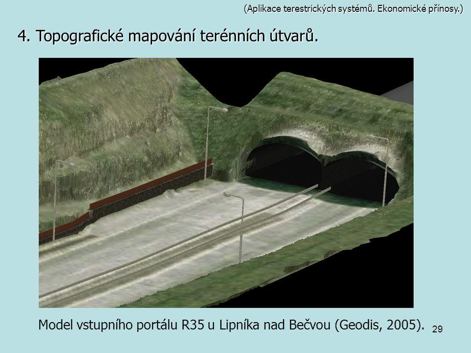 29 (Aplikace terestrických systémů. Ekonomické přínosy.) Model vstupního portálu R35 u Lipníka nad Bečvou (Geodis, 2005). 4. Topografické mapování ter