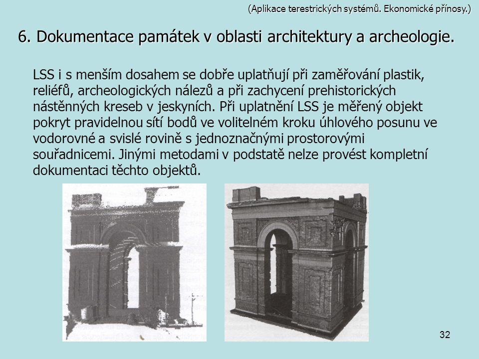 32 (Aplikace terestrických systémů. Ekonomické přínosy.) 6. Dokumentace památek v oblasti architektury a archeologie. LSS i s menším dosahem se dobře
