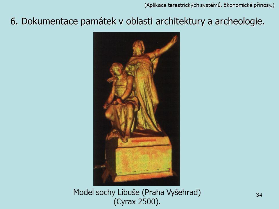 34 (Aplikace terestrických systémů. Ekonomické přínosy.) Model sochy Libuše (Praha Vyšehrad) (Cyrax 2500). 6. Dokumentace památek v oblasti architektu