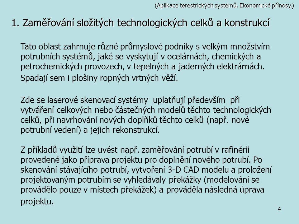 4 (Aplikace terestrických systémů. Ekonomické přínosy.) 1. Zaměřování složitých technologických celků a konstrukcí Tato oblast zahrnuje různé průmyslo