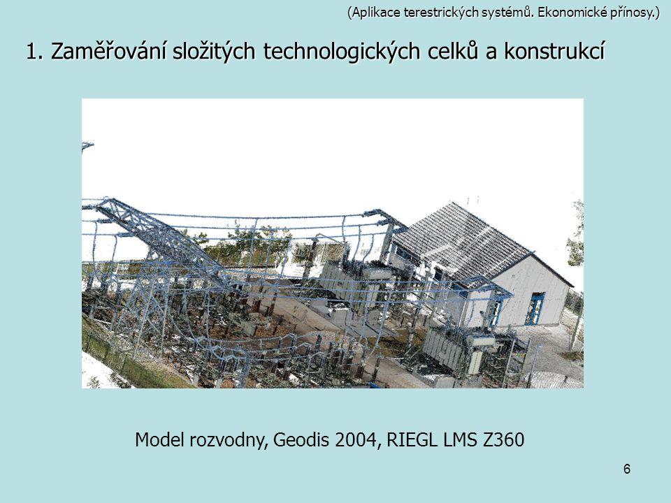6 (Aplikace terestrických systémů. Ekonomické přínosy.) 1. Zaměřování složitých technologických celků a konstrukcí Model rozvodny, Geodis 2004, RIEGL