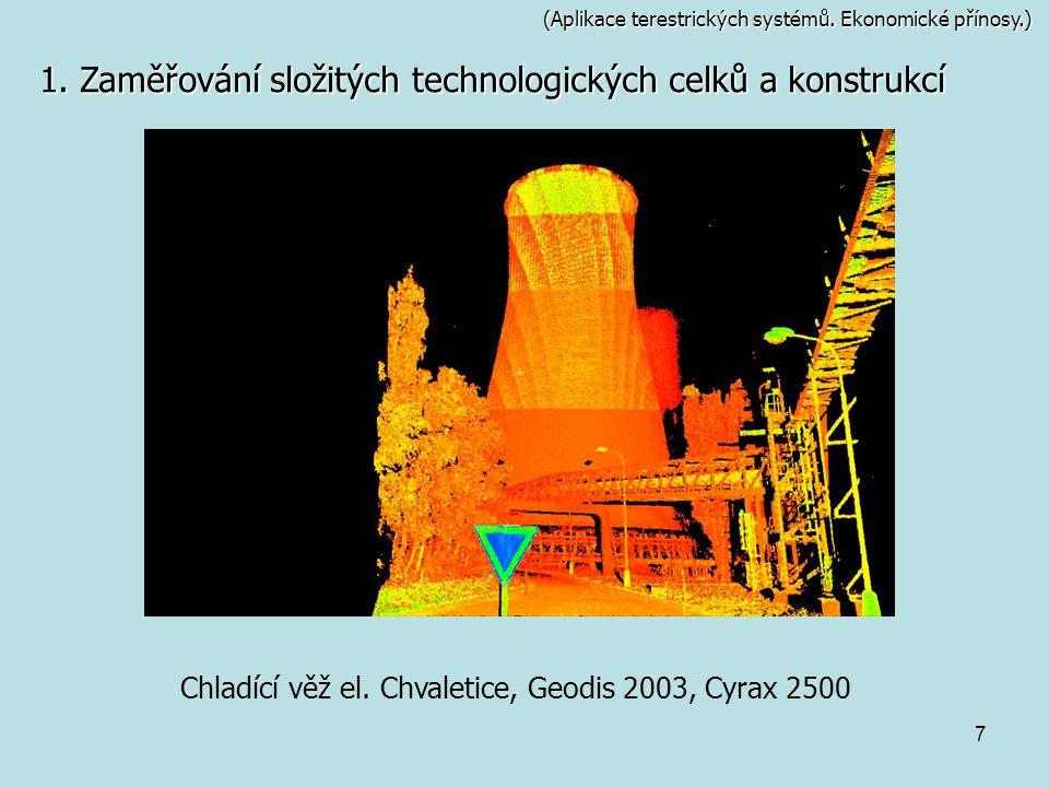 7 (Aplikace terestrických systémů. Ekonomické přínosy.) 1. Zaměřování složitých technologických celků a konstrukcí Chladící věž el. Chvaletice, Geodis