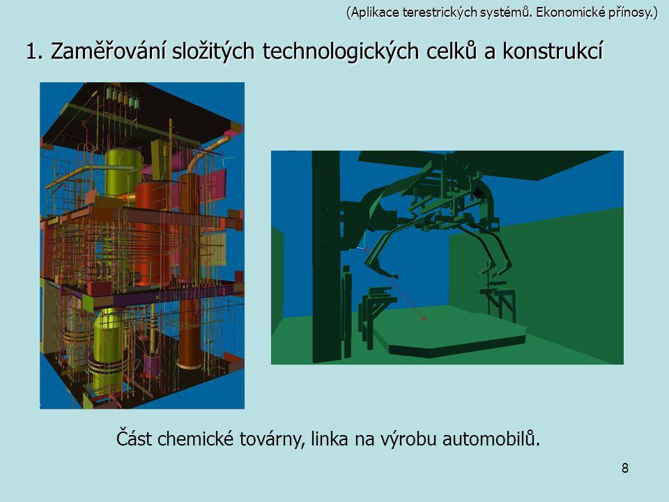 8 (Aplikace terestrických systémů. Ekonomické přínosy.) 1. Zaměřování složitých technologických celků a konstrukcí Část chemické továrny, linka na výr