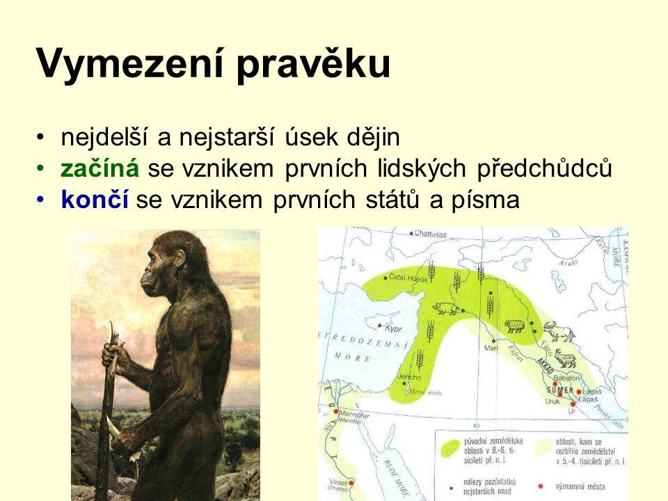 Vymezení pravěku nejdelší a nejstarší úsek dějin začíná se vznikem prvních lidských předchůdců končí se vznikem prvních států a písma