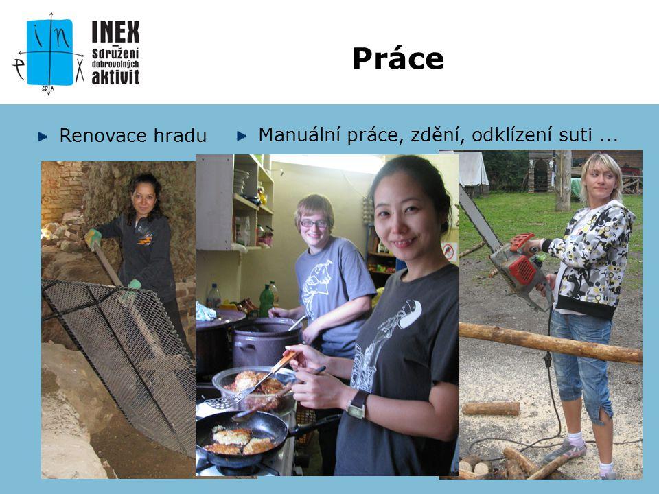 Renovace hradu Práce Manuální práce, zdění, odklízení suti...