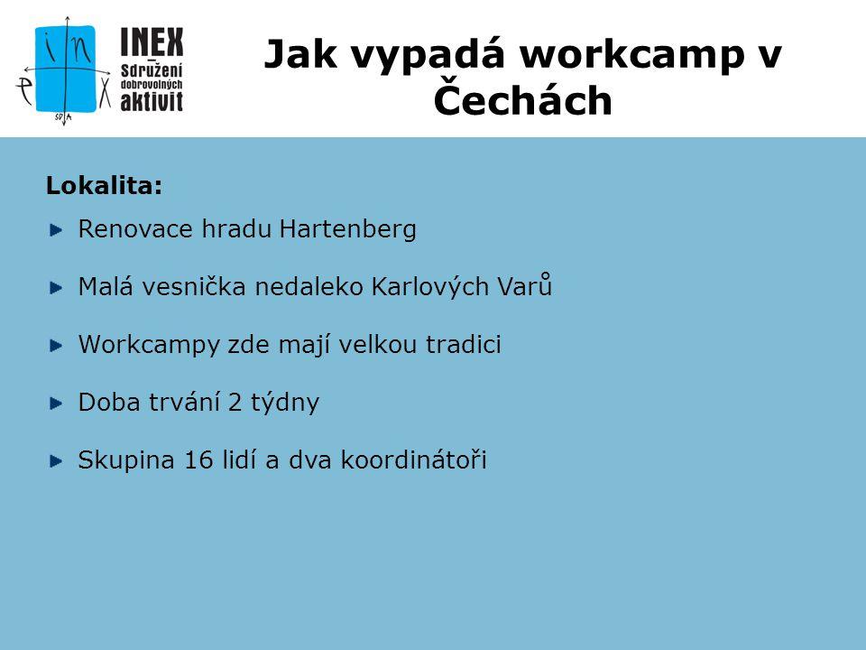Lokalita: Renovace hradu Hartenberg Malá vesnička nedaleko Karlových Varů Workcampy zde mají velkou tradici Doba trvání 2 týdny Skupina 16 lidí a dva koordinátoři Jak vypadá workcamp v Čechách