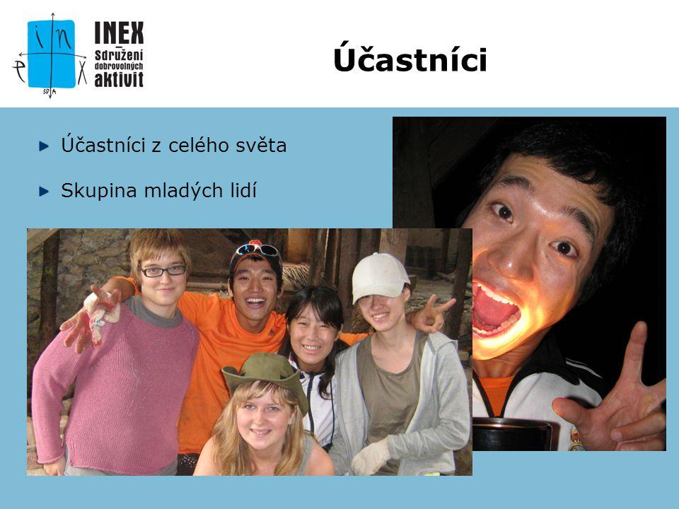 Účastníci z celého světa Skupina mladých lidí Účastníci