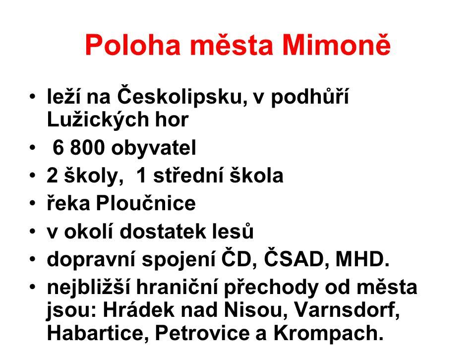 Poloha města Mimoně leží na Českolipsku, v podhůří Lužických hor 6 800 obyvatel 2 školy, 1 střední škola řeka Ploučnice v okolí dostatek lesů dopravní spojení ČD, ČSAD, MHD.