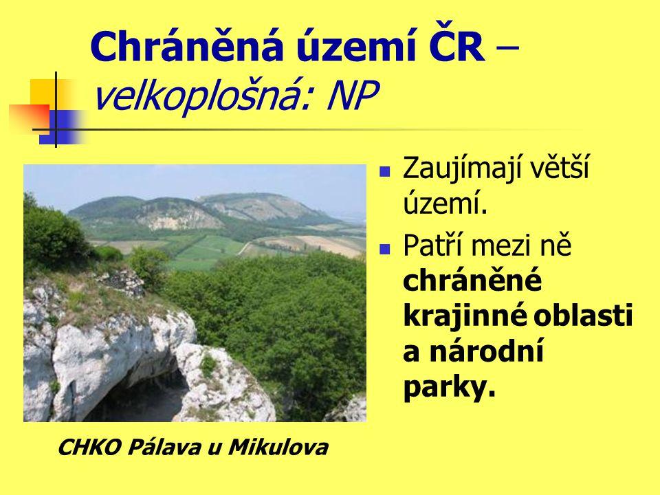 Chráněná území ČR – velkoplošná: NP Zaujímají větší území.