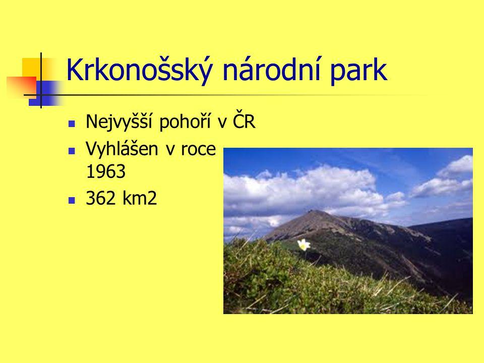 Krkonošský národní park Nejvyšší pohoří v ČR Vyhlášen v roce 1963 362 km2