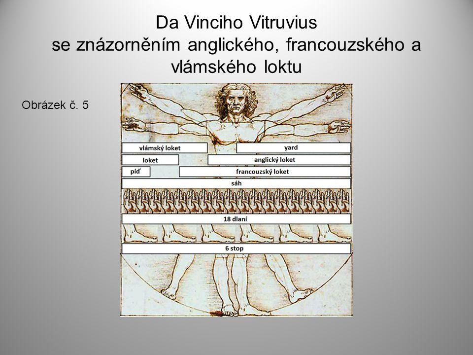 Da Vinciho Vitruvius se znázorněním anglického, francouzského a vlámského loktu Obrázek č. 5