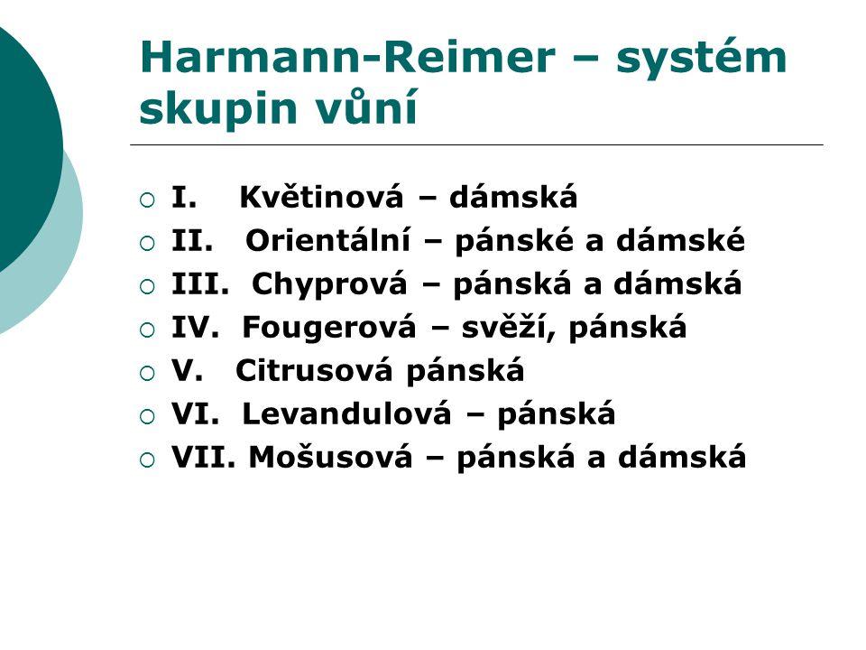 Harmann-Reimer – systém skupin vůní  I. Květinová – dámská  II.
