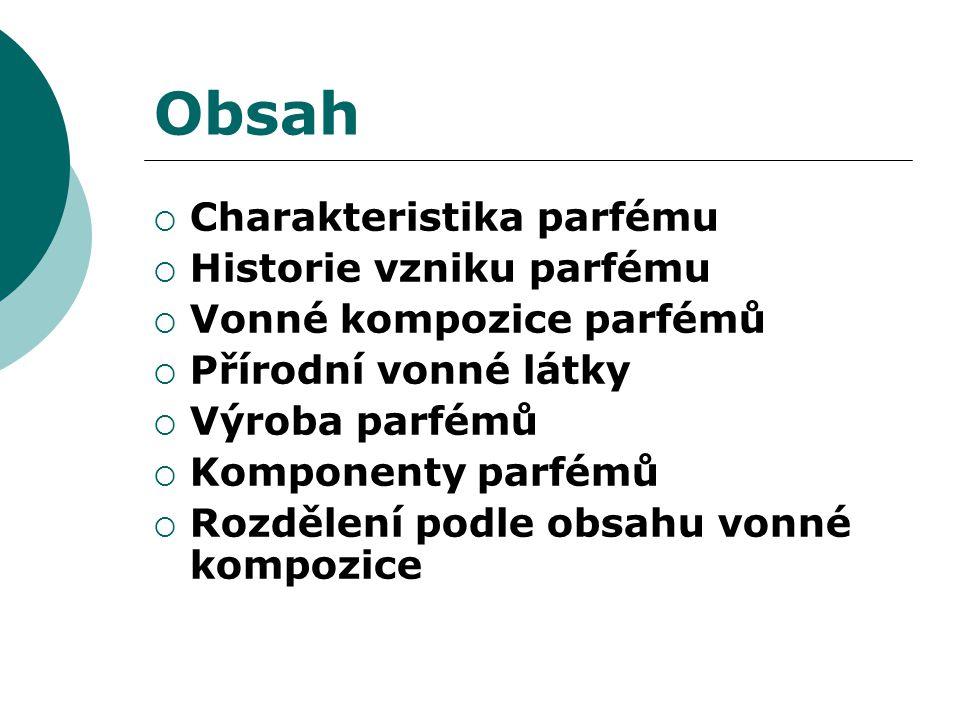 Obsah  Charakteristika parfému  Historie vzniku parfému  Vonné kompozice parfémů  Přírodní vonné látky  Výroba parfémů  Komponenty parfémů  Rozdělení podle obsahu vonné kompozice