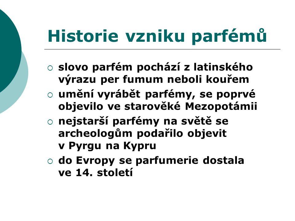 Historie vzniku parfémů  slovo parfém pochází z latinského výrazu per fumum neboli kouřem  umění vyrábět parfémy, se poprvé objevilo ve starověké Mezopotámii  nejstarší parfémy na světě se archeologům podařilo objevit v Pyrgu na Kypru  do Evropy se parfumerie dostala ve 14.