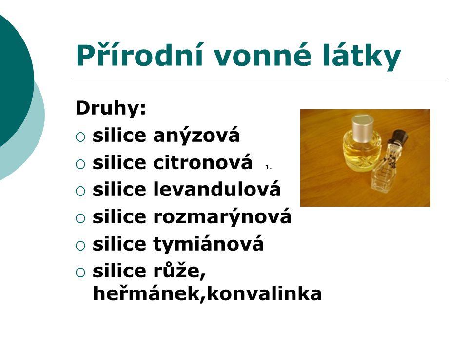 Přírodní vonné látky Druhy:  silice anýzová  silice citronová 1.