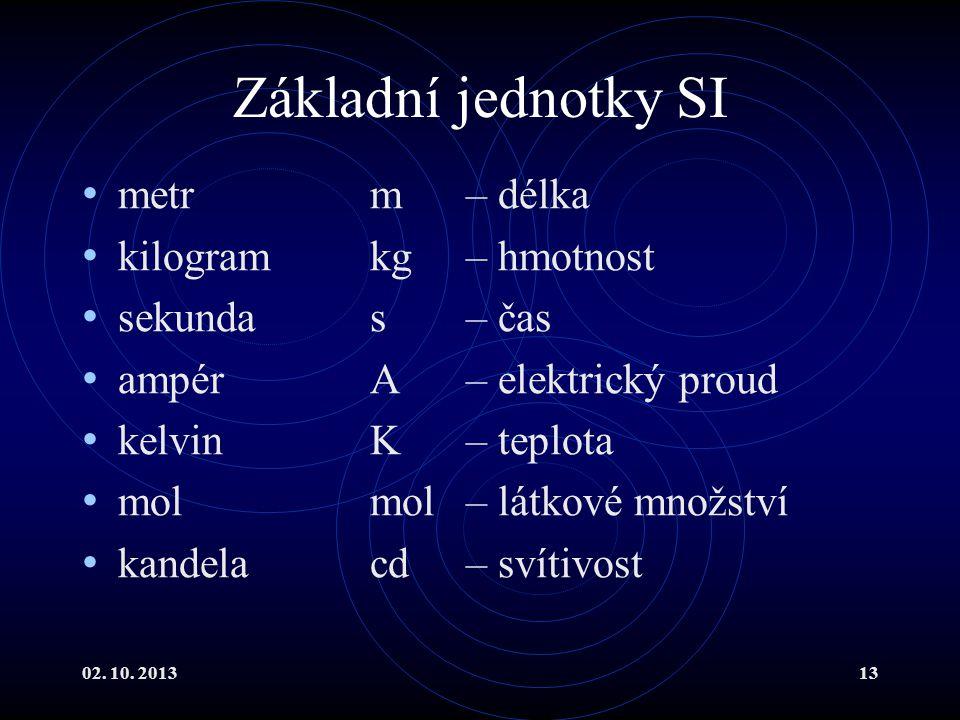 02. 10. 201313 Základní jednotky SI metr m– délka kilogram kg– hmotnost sekunda s– čas ampér A– elektrický proud kelvin K– teplota mol mol– látkové mn